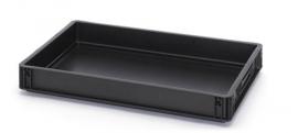 ESD-EG6475-HG | AUER eurobak antistatisch, gesloten uitvoering, afm. 60x40x7,5 cm (lxbxh), handgrepen gesloten, stapelbaar, zwart, 15 liter
