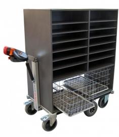 0408003 | FLEXYCART EcoLine elektrische postwagen EPW3EL, aandrijving 24Vdc/400W, 2x2 kolommen sorteerkast 985x600x1200 mm (lxbxh), laadvermogen 500 kg