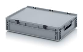 ED6412 | AUER eurobak met scharnierend deksel en sluitingen, afm. 60x40x13,5 cm (lxbxh), handgrepen open, stapelbaar, zilvergrijs RAL 7001, volume 24 liter, gewicht 2,01 kg, fabrieksgarantie 5 jr