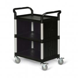 5121304 | TAUROTRADE etagewagen van zwart kunststof/aluminium, 3 laadvlakken afm. 680x450 mm (lxb), draagvermogen 240 kg, wanden aan 3-zijden, 4 zwenkwielen