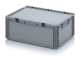 ED6422-HG | AUER eurobak met scharnierend deksel en sluitingen, afm. 60x40x23,5 cm (lxbxh), handgrepen gesloten, stapelbaar, zilvergrijs RAL 7001, volume 45 liter, gewicht 2,51 kg, fabrieksgarantie 5 jr
