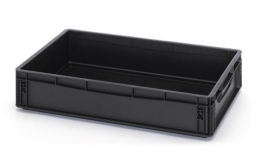 ESD-EG6412-HG | AUER eurobak antistatisch, gesloten uitvoering, afm. 60x40x12 cm (lxbxh), handgrepen gesloten, stapelbaar, zwart, 24 liter