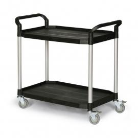 5121301 | TAUROTRADE etagewagen van zwart kunststof/aluminium, 2 laadvlakken afm. 915x520 mm (lxb), draagvermogen 250 kg, 4 zwenkwielen