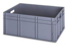 EG8632 | QUALITY BOX eurobak gesloten uitvoering, afm. 80x60x32 cm (lxbxh), handgrepen open, stapelbaar, zilvergrijs, inhoud 130 liter, gewicht 4,9 kg