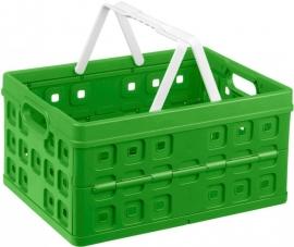 57100661 | SUNWARE Square stapelbare vouwkrat met open handgrepen en draaghengsels, afm. 49x36x25 cm (bxdxh), draagvermogen 30 kg, inhoud 32 liter, kleur natuur-groen/wit, gewicht 1,3 kg