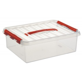 78600605 | SUNWARE Q-Line opbergbox met handgreep, 12,0 liter, transparant/rood , A4 bodemmaat