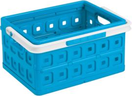 57500611 | SUNWARE Square stapelbare vouwkrat met open handgrepen en draaghengsel, afm. 43,5x31x21,3 cm (bxdxh), draagvermogen 15 kg, inhoud 24 liter, kleur blauw/wit, eigen gewicht 1,6 kg