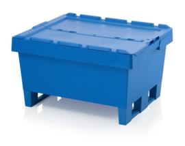 MBD8632K | AUER opslagbak met klapdekdel en 2 sledes, buiten afm. 80x60x34 cm (lxbxh), inhoud 104,8 ltr, stapelbaar, hemelsblauw RAL 5015, gewicht 8,2 kg