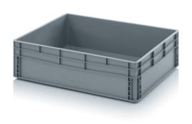 EG8622-HG | AUER eurobak gesloten uitvoering, afm. 80x60x22 cm (lxbxh), handgrepen gesloten, stapelbaar, zilvergrijs,  inhoud 87 liter, gewicht 4,27 kg