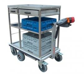 0402006 | FLEXY CART elektrische drankenserveerwagen ESW6, aandrijving 24Vdc/350W, rvs opbouw met laadvlak 945x570 (lxb) en laden, laadvermogen 500 kg, gewicht 94 kg