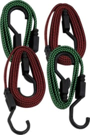43192400 | PETEX elastisch bagageband plat met J-haken, verpakt per set van 4 stuks (2x 100 cm groen + 2x 150 cm rood), breedte 18 mm, trekkracht 50 N, fabrieksgarantie 1 jr