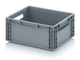 EG4317 | AUER eurobak gesloten uitvoering, afm. 40x30x17 cm (lxbxh), handgrepen open, stapelbaar, zilvergrijs, inhoud 15 liter, gewicht 1,1 kg