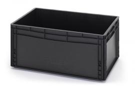 ESD-EG6427-HG | AUER eurobak antistatisch, gesloten uitvoering, afm. 60x40x27 cm (lxbxh), handgrepen gesloten, stapelbaar, zwart, 56 liter