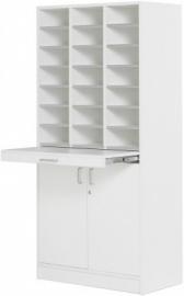 E31W11 | Kast Classic IP-925/D, vloermodel, 3 kolommen, 21 vakken 115 mm hoog, uittrekbaar werkblad, draaideuronderkast incl. slot, verstelbaar legbord, decor witlaminaat