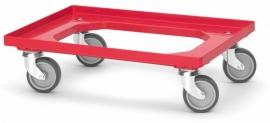 RO64-GU-RD | QUALITY BOX transportroller COMPACT voor stapelbare Eurobakken 60x40 cm of 30x40 cm, 4x rubber zwenkwielen ø 10 cm ongeremd, wielvorken gegalvaniseerd, draagvermogen 250 kg, kleur rood RAL 3020, gewicht 3,7 kg