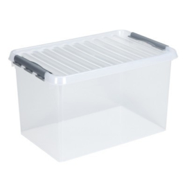 83500609   | SUNWARE Q-Line opbergbox met handgreep, clipsluiting, afm. 600x400x340 mm (bxdxh), 62 liter, transparant/zwart