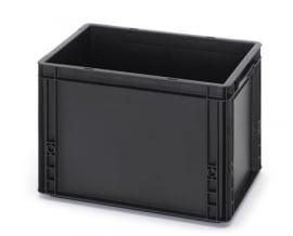 ESD-EG4327-HG | AUER Euro-bak ESD antistatisch, gesloten uitvoering, afm. 400x300x270 mm (lxbxh), handgrepen open, inhoud 26 liter, stapelbaar, zwart RAL 9017, gewicht 1,62 kg, fabrieksgarantie 5 jr