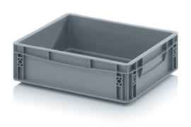 EG4312-HG | AUER eurobak gesloten uitvoering, afm. 40x30x12 cm (lxbxh), handgrepen gesloten, stapelbaar, zilvergrijs, inhoud 10 liter, gewicht 0,9 kg