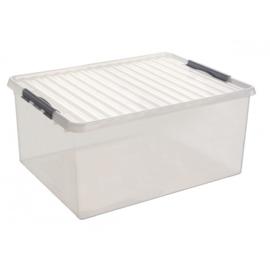 83300609  | SUNWARE Q-Line opbergbox met handgreep, clipsluiting, afm. 800x500x350 mm (bxdxh), 120 liter, transparant/zwart