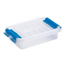 83200011 | SUNWARE Q-Line opbergbox 0,2 liter, afm. 11,8x7,7x3 cm (bxdxh), transparant/blauw, stapelbaar