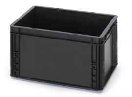 ESD-EG4322-HG | AUER Euro-bak ESD antistatisch, gesloten uitvoering, afm. 400x300x220 mm (lxbxh), handgrepen gesloten, inhoud 20 liter, stapelbaar, zwart RAL 9017, gewicht 1,48 kg, fabrieksgarantie 5 jr