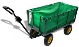 20037 | DEMA handwagen Green, incl. draadgaas zijwanden, afvalzak en afneembare disselkop, 2-assig, totaal afm. 2100/1020x540x1010 mm (lxbxh), laadvlak afm. 500x920 mm (bxd),  draagvermogen 300 kg, inhoud 160 liter, luchtbanden, gewicht 20 kg