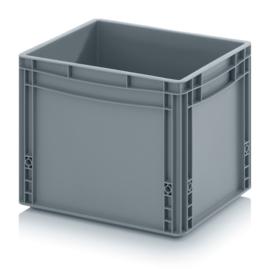 EG4332-HG | AUER eurobox  gesloten uitvoering, afm. 40x30x32 cm (lxbxh), handgrepen gesloten, stapelbaar, RAL 7001 zilvergrijs, inhoud 30 l, gewicht 1,59 kg