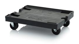 ESD-RO86 | AUER transportroller MAXI voor stapelbare ESD-Eurobakken 80x60 cm of 40x30 cm, 4x ESD PP zwenkwielen ø 12,5 cm ongeremd, wielvorken gegalvaniseerd, draagvermogen 100 kg, kleur zwart, gewicht  10,09 kg