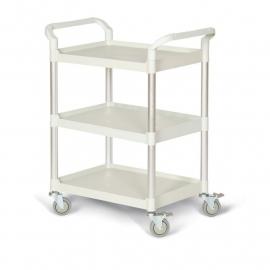 5121308 | TAUROTRADE etagewagen van lichtgrijs kunststof/aluminium, 3 laadvlakken afm. 680x450 mm (lxb), draagvermogen 240 kg, 4 zwenkwielen