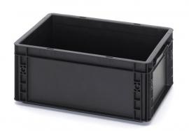 ESD-EG4317-HG | AUER Euro-bak ESD antistatisch, gesloten uitvoering, afm. 400x300x170 mm (lxbxh), handgrepen open, inhoud 15 liter, stapelbaar, zwart RAL 9017, gewicht 1,21 kg, fabrieksgarantie 5 jr