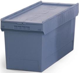 65053 | BITO combikrat incl. klapdeksel, afm 80x40x34 cm (lxbxh), inhoud 76 ltr, stapelbaar, duifblauw