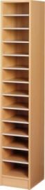 E31083 | PRIMA OFFICE vakkenkast Classic Singel/Maxi, 1 kolom 13 vakken, vakhoogte 115 mm, afm. 320x400x1800 mm (bxdxh), decor beukenlaminaat