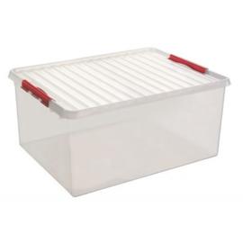 83300605  | SUNWARE Q-Line opbergbox met handgreep, clipsluiting, afm. 800x500x350 mm (bxdxh), 120 liter, transparant/rood