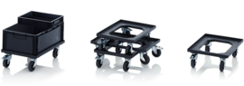 ESD-RO64   AUER ESD-transportroller COMPACT voor stapelbare ESD-Eurobakken 60x40 cm of 30x40 cm, 4x ESD PP zwenkwielen ø 10 cm ongeremd, wielvorken gegalvaniseerd, draagvermogen 250 kg, kleur zwart, gewicht  4,22 kg