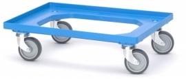 RO64-GU-BW | QUALITY BOX transportroller COMPACT voor stapelbare Eurobakken 60x40 cm of 30x40 cm, 4x rubber zwenkwielen ø 10 cm ongeremd, wielvorken gegalvaniseerd, draagvermogen 250 kg, kleur blauw RAL 5015, gewicht 3,7 kg