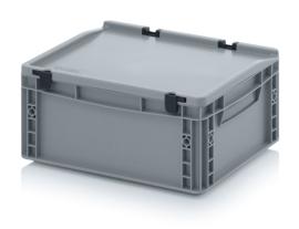 ED4317-HG | AUER eurobak met scharnierend deksel en sluitingen, afm. 40x30x18,5 cm (lxbxh), handgrepen gesloten, stapelbaar, zilvergrijs RAL 7001, volume 15 liter, gewicht 1,52 kg, fabrieksgarantie 5 jr