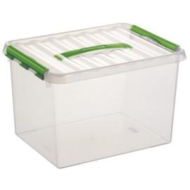 78800661 | SUNWARE Q-Line opbergbox met handgreep, clipsluiting, 22,0 liter, transparant/groen, A4 bodemmaat