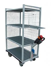 0403001 | FLEXY CART elektrische etagewagen EWM4, aandrijving 24Vdc/350W, stalen opbouw, 4 etages, draadgaas kopwanden, 1060x600x1600 mm (lxbxh), laadvermogen 500 kg