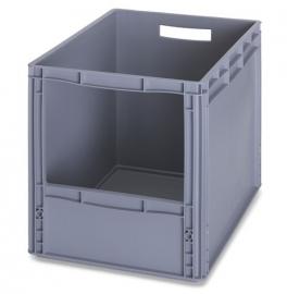 SLK6442 | AUER eurobak met raamopening 31x22 cm, afm. 60x40x42 cm (lxbxh), handgrepen open, stapelbaar, RAL 7001 zilvergrijs, gewicht 2,92 kg