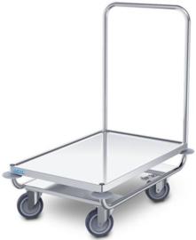 0112602 | HUPFER  platformwagen PW/8x5, roestvrijstaal, waterkeringsprofiel rondom, afm. platform 800x500 mm (bxd), draagvermogen 120 kg, gewicht 11,3 kg