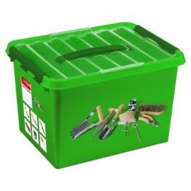 79800406 | Q-line tuin opbergbox met inzet, 22 l, transparant/groen