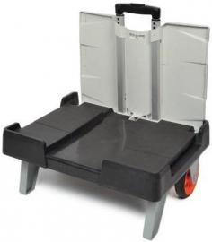 56000998 | ROLL1 inklapbare vouwkrattenrolley, afm. 485x370x1035/76 mm (lxbxh), draagvermogen 40 kg, incl. 1 vouwkrat afm. 490x360x250 mm (lxbxh), kratinhoud 32 liter, gewicht 2,8 kg