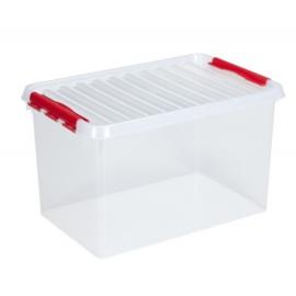 83500605 | SUNWARE Q-Line opbergbox met handgreep, clipsluiting, afm. 600x400x340 mm (bxdxh), 62 liter, transparant/rood