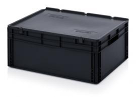 ESD-ED8632-HG | AUER eurobak antistatisch, gesloten uitvoering met scharnierend deksel, afm. 80x60x34 cm (lxbxh), volume 130 l, stapelbaar, RAL 9017 zwart, gewicht 7,78 kg