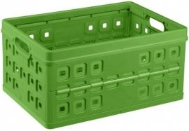 57300661 | SUNWARE Square stapelbare vouwkrat met open handgrepen, afm. 54x38x26,5 cm (bxdxh), draagvermogen 30 kg, inhoud 46 liter, kleur natuur-groen, gewicht 1,4 kg, fabrieksgarantie 2 jr