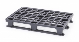 Lichtgewicht kunststof pallet, 1200x1000x150 mm (lxbxh), 9 poten, kleur zwart