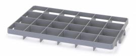 GEF24U | AUER vakverdeler voor eurobox 60x40 cm, 24 vakken, afm. 9x8,6 cm (bxd) voor onder, glas ø max. 8,5 cm, RAL 7001 zilvergrijs, fabrieksgarantie 2 jr