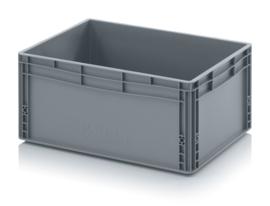 EG6427-HG | AUER eurobox gesloten uitvoering, afm. 60x40x27 cm (lxbxh), handgrepen gesloten, stapelbaar, RAL 7001 zilvergrijs, inhoud 56 l, gewicht 2,17 kg