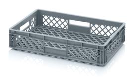 EO6412 | AUER eurobak met geperforeerde bodem en wanden, afm. 60x40x12 cm (lxbxh), RAL 7001 zilvergrijs, inhoud 22 l, gewicht 1,25 kg, fabrieksgarantie 2 jr