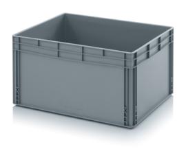EG8642-HG | QUALITY BOX eurobak gesloten uitvoering, afm. 80x60x42 cm (lxbxh), handgrepen gesloten, stapelbaar, zilvergrijs, inhoud 172 liter, gewicht 6,12 kg